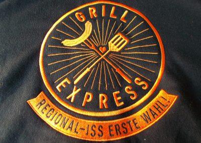 Grillexpress Schuerze Logo sticken