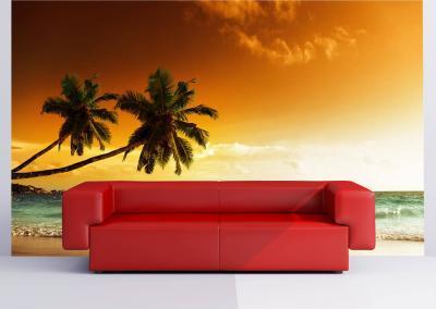 504-Fototapete-Wall-Art-Tapete-Aufkleber-Wand-Palme-Strand-drucken-Sofa-rot