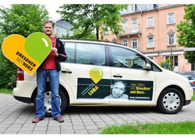 Beschriftung Sponsoring Taxi mit Luba ev