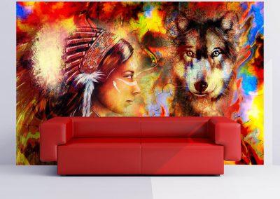 504-Fototapete-Wall-Art-Aufkleber-Wand-Indianer-Wolf-drucken