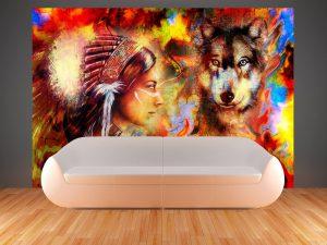 504-Fototapete-Wall-Art-Tapete-Wandbild-Indianerin-Wolf-drucken