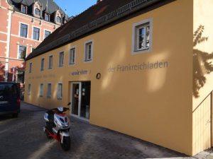 Frankreichladen Dresden Fassadenschrift logo malen