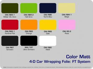 4-D-Autofolie-Carwrapping-FT-System-Color-Matt-Farbuebersicht
