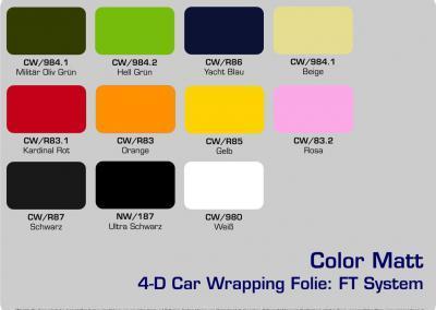 4-D-Autofolie-Carwrapping-FT-System-Color-Matt-Farbuebersicht