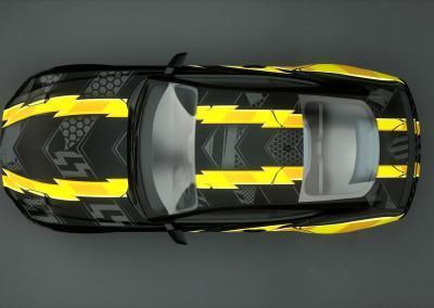 Autofolie Motivdruck-black yellow