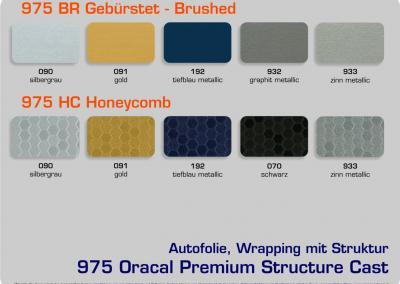 4-D-Autofolie-Carwrapping-975-Oracal-Structure-Cast-gebuerstet-Honeycomb-Farbuebersicht