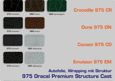 4-D-Autofolie-Carwrapping-975-Oracal-Structure-Crocodile-Dune-Cocoon-Emulsion-Cast-Farbuebersicht