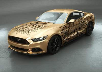 Carwrapping-Autofolie-Eule-Tod-Totenkopf-gold