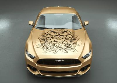 Carwrapping-Autofolie-owl of the death gold