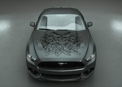 Carwrapping-Autofolie-owl of the death-graphite-grau
