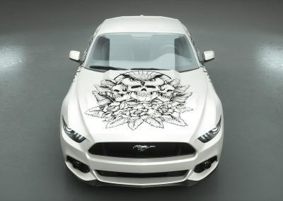 Carwrapping-Autofolie-owl of the death-withe-weiss