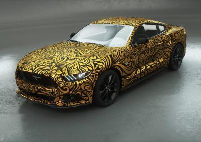 Fahrzeugvollfolierung-gold ornamental-Dresden