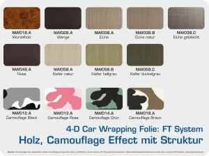 4-D-Autofolie-Carwrapping-FT-System-Holz-Camouflage-Effect-Struktur-Farbuebersicht