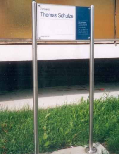372-Zahnarzt Schulz-Aufsteller-Edelstahl