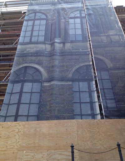 526_Planenmontage ans Gerüst Sempergalerie Zwinger Dresden