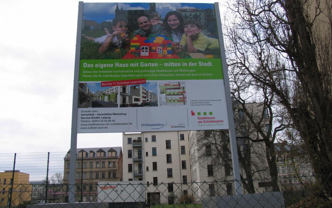 Beschilderung, Bauschild, Bautafel, Werbung in Leipzig