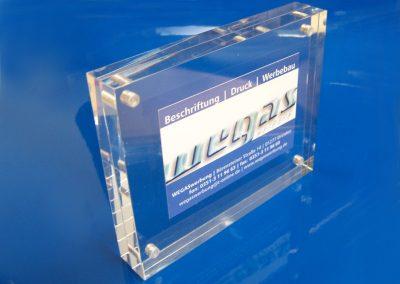Tischaufsteller-Acryl-Block-Magnethalter-Visitenkarten-Flyer