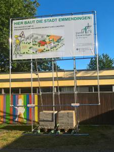 552-Bauschild Aufsteller Gestell Plane Bayern