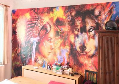 603-Wandbild-Druck-Indianer-Wolf