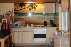 604-Wandbild-Druck-Urlaub-Beach-Strand-Palmen-Gartenlaube-Gartenhaus-Küche-Wohnung