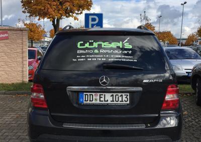 606-Fahrzeugbeschriftung-Heck-Guensels Bistro und Restaurant im EKZ Weissig