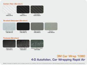 Farbpalette 3M Car Wrap Serie 1080 Autofolien Struktur