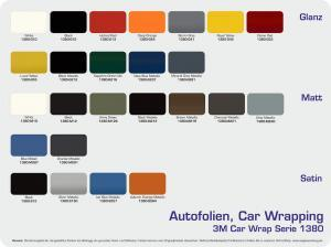 Farbpalette 3M Car Wrap Serie 1380 Autofolien alle