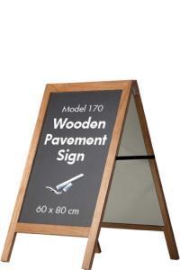 Kundenstopper Holz mit Kreidetafel 170