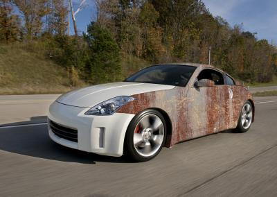 623-Autofolie-Rost-Lack-verrostet-Carwrapping-Teilfolierung-Nissan