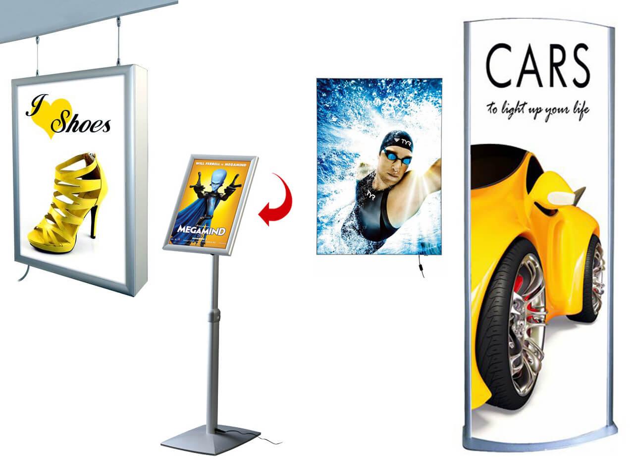 Bilderrahmen-LEDFlaechen-Licht-Leuchtsaeule-Infostaender-Display
