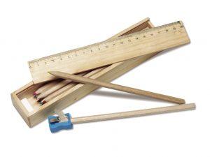 Woody Bunstiftset-Bundstift-Bleistift-Spitzer-Lineal-Box-Werbemittel-Werbeaufdruck
