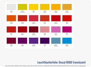 Folienfarbe Oracal 8500 transluzent Leuchtkastenfolie-1 Wegaswerbung-Shop