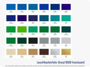 Folienfarbe Oracal 8500 transluzent Leuchtkastenfolie-2 Wegaswerbung-Shop