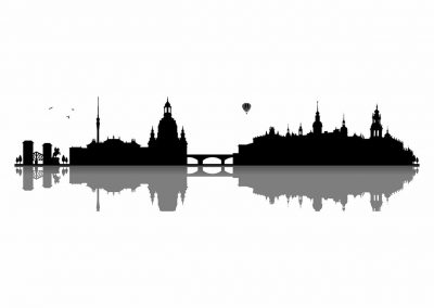 Stadt-0105-Skyline-Barock-Stadt-Dresden-Semperoper-Fernsehturm-Elbe-Wandtattoo-Aufkleber