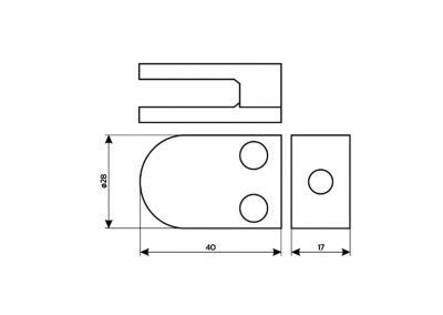 Schilderhalterung-Plattenklemmsystem-gerader Anschluss-Kopenhagen-F-Skizze