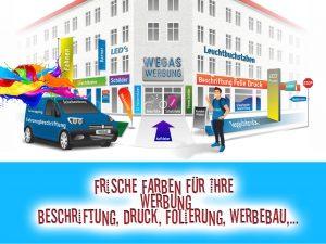 Wegaswerbung-Titel-Beschriftung-Druck-Werbetechnik-Copyshop-Signe-Ware-Display-Design