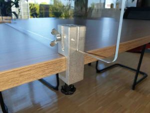 Klemmhalter-Unihalter-Corona-Trennscheibe-Schutzwand-Tischklemme