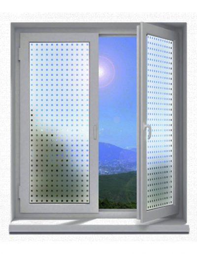 Sichtschutz-Glasdekor-Folienmotive-Karo-Viereck-Rechteck-Negativ