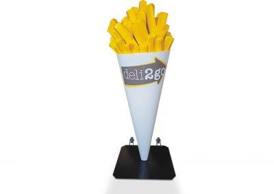 3-D-Figur-Plastik-Werbeaufsteller-Werbefigur-Pommes-Tuete
