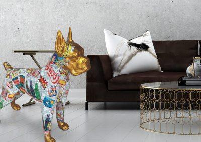 3-D-Figur-Tier-Plastik-Boxer-stehend-Pop-Art-Deko-Wohnung-Buero-Garten-Haus-Schaufenster