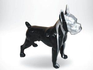 3-D-Figur-Tier-Plastik-Boxer-stehend-schwarz-silber