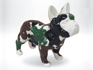 3-D-Figur-Tier-Plastik-Franzoesische-Bulldogge-Kunstharz-Camouflage-bemalt