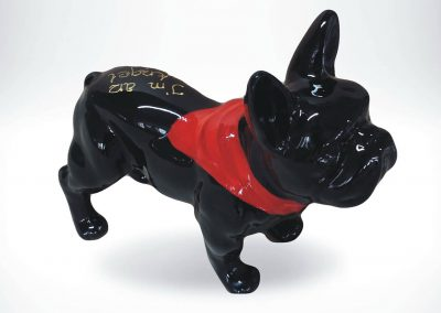 3-D-Figur-Tier-Plastik-Franzoesische-Bulldogge-Kunstharz-Haltuch-bemalt