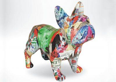 3-D-Figur-Tier-Plastik-Franzoesische-Bulldogge-Kunstharz-Pop-Art-bemalt