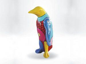 3-D-Figur-Tier-Plastik-Pinguin-Kunststoff-Handarbeit-Fantasie