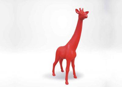 3-D-Tierplastik-Giraffe-klein-Dekoration-Harz-Figur-rot