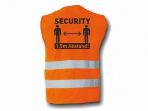 Warnweste-2-Warnstreifen-SECURITY-1m50cm-Abstand-halten-Coronaschutz