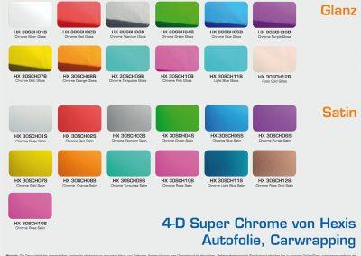 HX-Carwrapping-Autofolie Chrome-Glanz-Satin-Farbuebersicht
