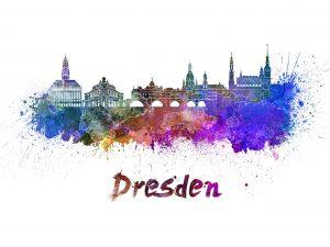 Bild-Skyline-Silhouette-Dresden-Kunst-Gemaelde-kuenstlerisch-gemalt