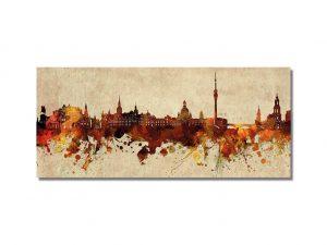 Skyline-Silhouette-Dresden-Kunst-Gemaelde-kuenstlerisch-gemalt